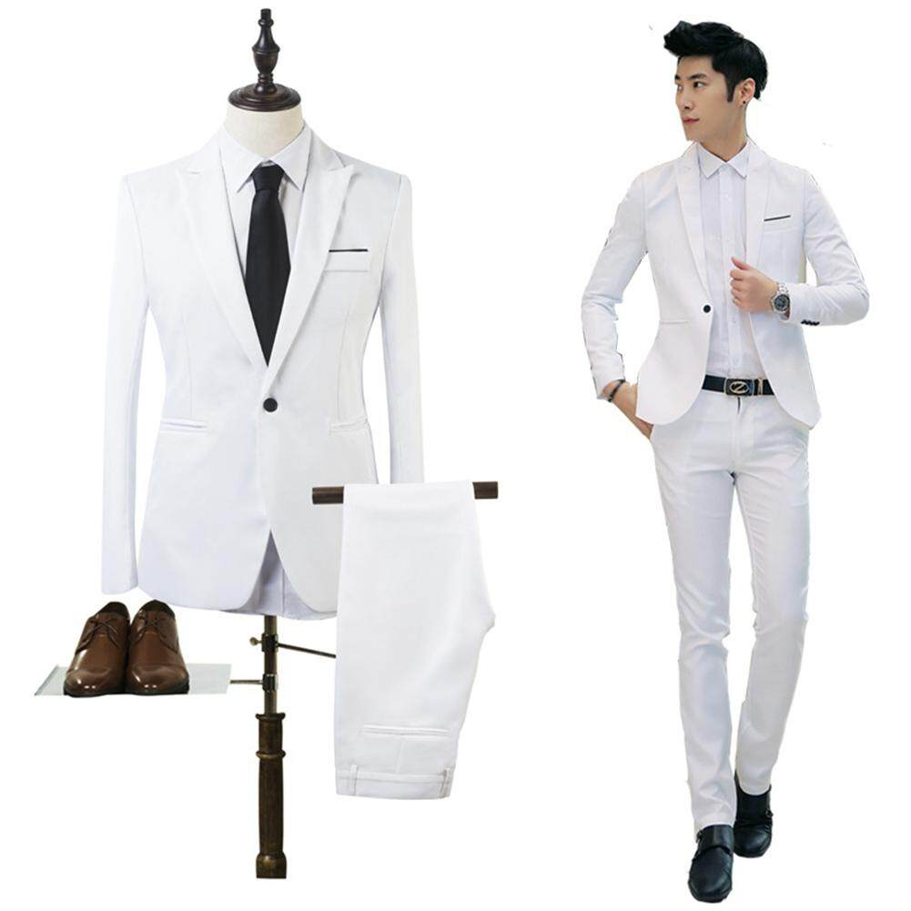b1bda9d311b76 Mens Suits Business Male Slim Fit Blazer Bestman Groomsman Suits Formal  Outfit One Button Jacket Pants