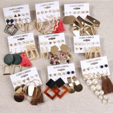 Bộ 6 bông tai nhiều kiểu dáng thời trang chất liệu hợp kim