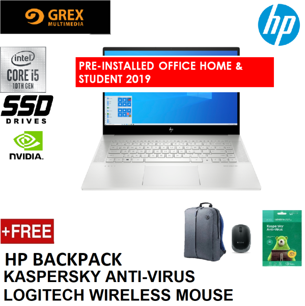 HP ENVY 15-EP0009TX LAPTOP (I5-10300H,16GB,512GB SSD,15.6 FHD TOUCH,GTX1650TI 4GB,WIN10) FREE BACKPACK + LOGITECH WIRELESS MOUSE + KSPSKY ANTI-VIRUS + PRE-INSTALLED OFFICE H&S 2019 Malaysia