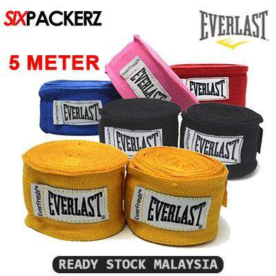 Everlast 5m Elastic Boxing Hand Wraps 2pcs Pair Muay Thai Wrap Handwrap Mma