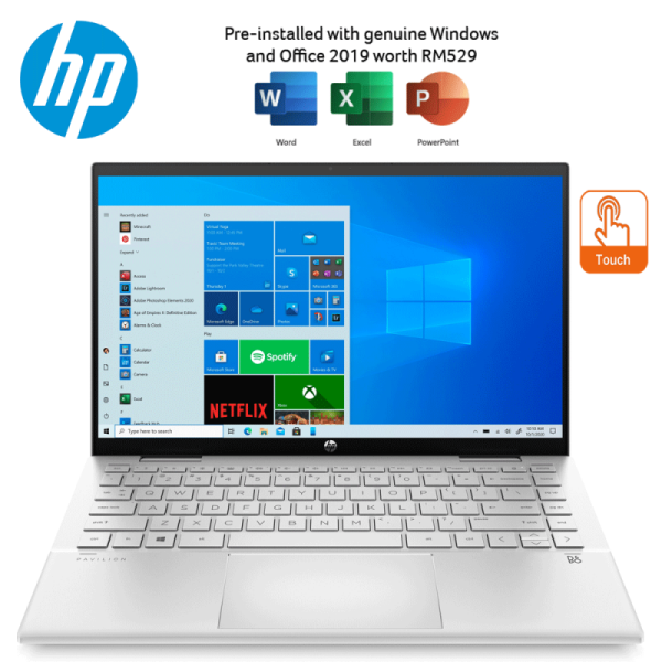 HP Pavilion X360 14-Dy0018TU 14 FHD Touch Laptop Natural Silver ( I5-1135G7, 8GB, 512GB SSD, Intel, W10, HS ) Malaysia