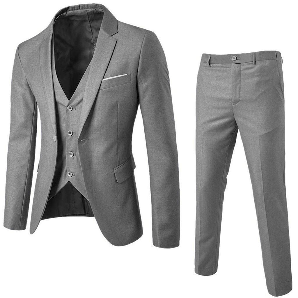 Vivimall Men's Suit Slim 3-Piece Suit Blazer Business Wedding Party Jacket Vest & Pants By Vivimall.