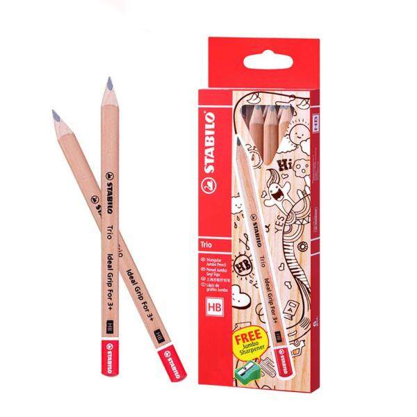 Stabilo Trio Triangular Jumbo Hb Pencil With Sharpener 6pcs/bx 362hb6p1 By Tse Stationery.