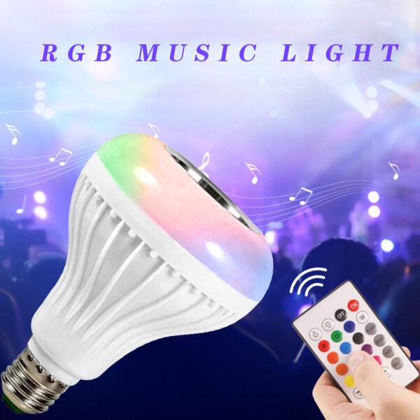 Đèn LED Thông Minh E27, Bóng Đèn Máy Nghe Nhạc Bluetooth RGBW Với Điều Khiển Từ Xa