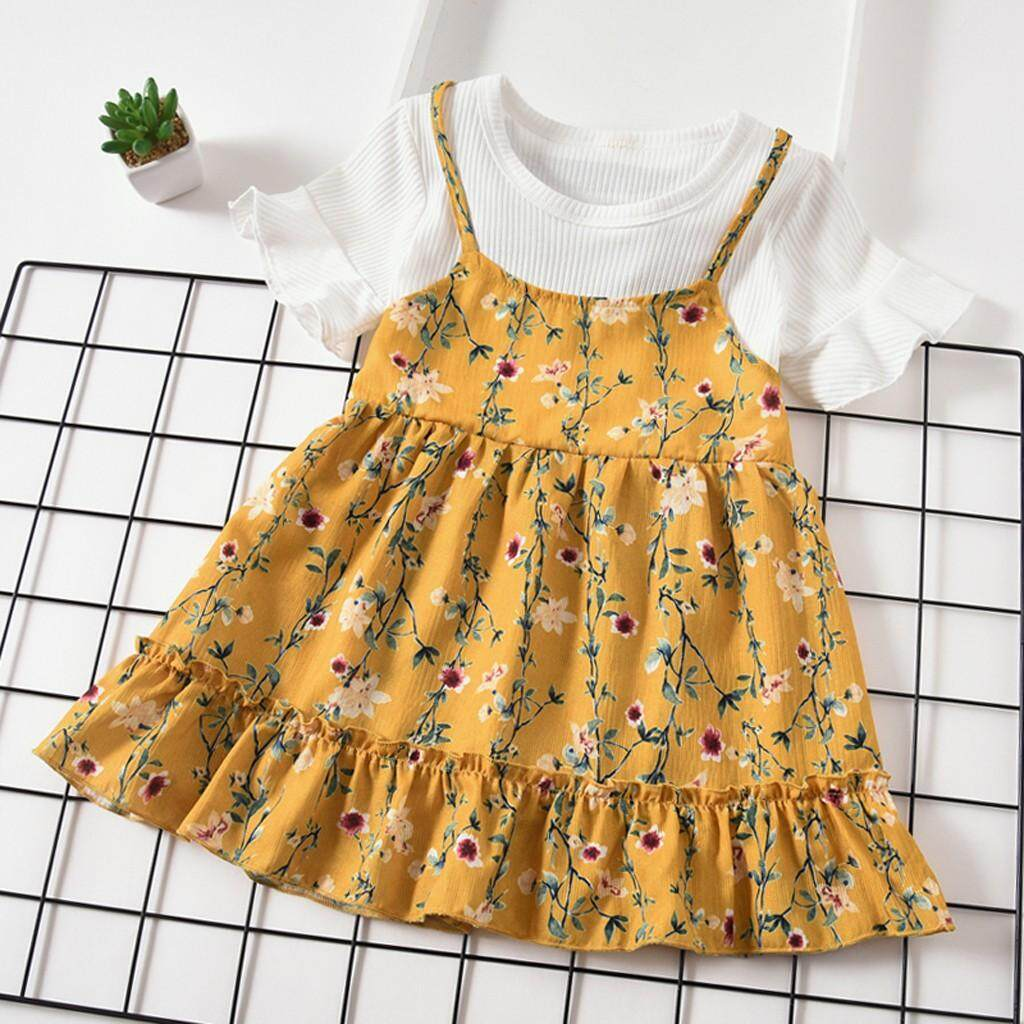 6a30a4548238 Toddler Baby Kids Girls Fly Sleeve Ruched Floral Flowers Print Dresses  Clothes