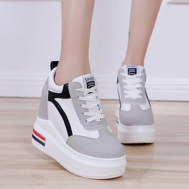 f8ef7f2dc8 Philippines. HOT!!! Casual Womens Students Lace Up High Platform Wedge  Sneakers heels shoes