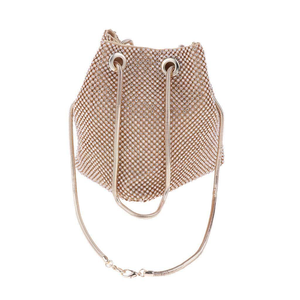 MagiDeal Women Evening Bag Crystal Rhinestone Bucket Bag Chain Crossbody Clutch Bag