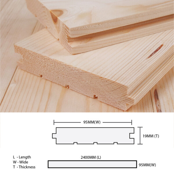 Pine Wood Timber Solid Timber Flooring 19MM T x 95MM W x 2400MM L