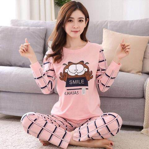 b60bf53f8c1 Women Premium quality Comfortable Comfort Cotton Silk Fabric Long Sleeve  and Long Pant Light Pink BEAR