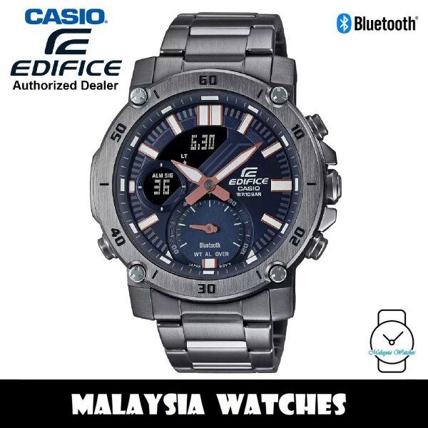 (OFFICIAL WARRANTY) Casio Edifice ECB-20DC-1A Analog Digital Bluetooth Grey Stainless Steel Mens Watch ECB20DC ECB20DC-1A ECB-20DC-1AVUDF Malaysia