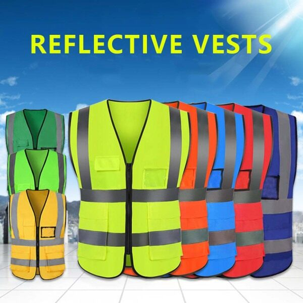 (HOT SALE) Safety Vests High Visibility Reflective Vest Multi-Pockets Safety Working Clothes Vest Motorcycle Cycling Multipurpose Reflective Safety Clothing Jacket with 360 Degree Reflective Stripes