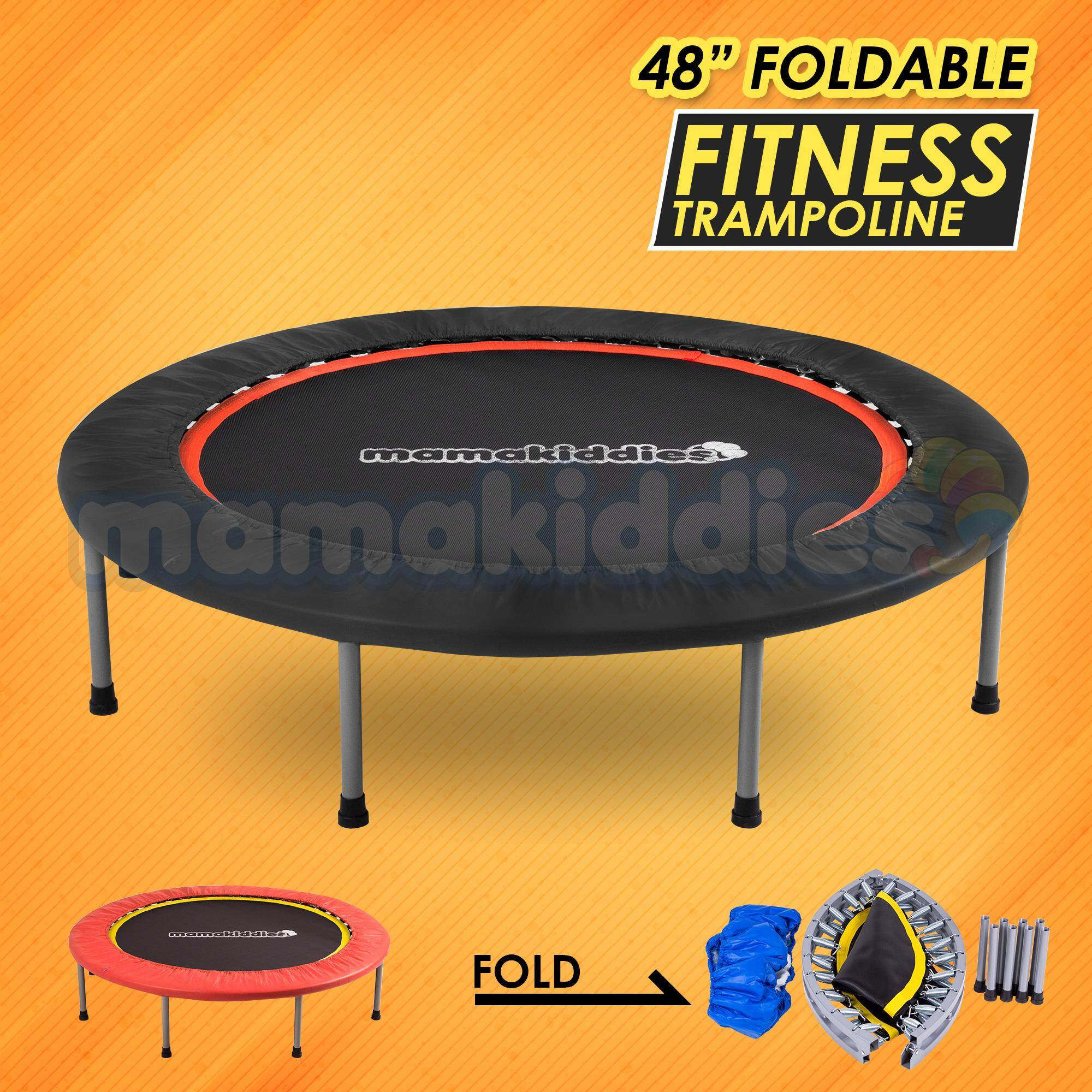 Mamakiddies Premium 48 Inches 4 Folds Foldable Sports Kids & Adult Trampoline Fitness Slimming, Anti Stress, Jumping Bouncer, Physical Therapy For Autism -Black By Mamakiddies