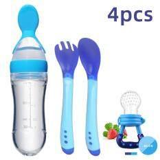 I Love Daddy & Mummy Bộ Đồ Ăn Cho Bé 4 Món Dụng Cụ Ăn Cho Trẻ Sơ Sinh Hay Trẻ Mọc Răng Gồm Núm Vú Giả + Thìa & Dĩa Cảm Biến Nhiệt Độ + Muỗng Cho Ăn + Chai Đựng Thức Ăn