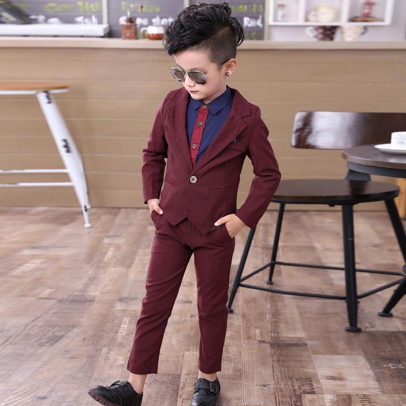 f43287aa8 2pcs/Set Kid Child Boy Formal Suit Wedding Notch Lapel Coat Jacket+Pants  Outfits