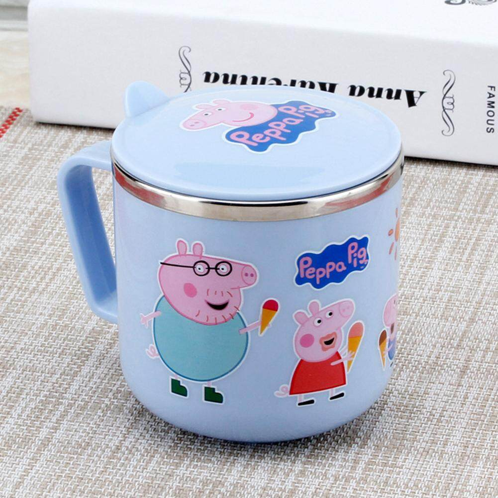 YF Baby Kids Cartoon Pattern Double Layer Insulation Stainless Steel Drink Water Cup with Handle Cover Volume:300mL