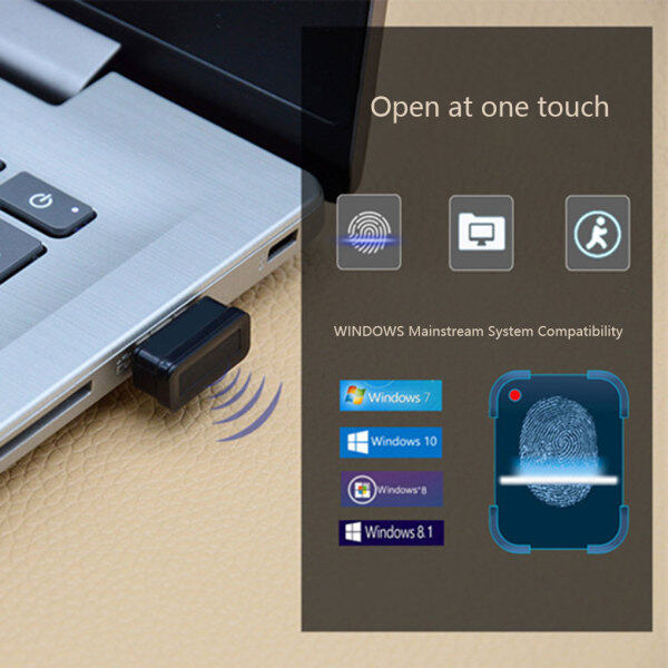 USB Fingerprint Lander Quick Identification File Encryption Laptop Computer Login Lock Black