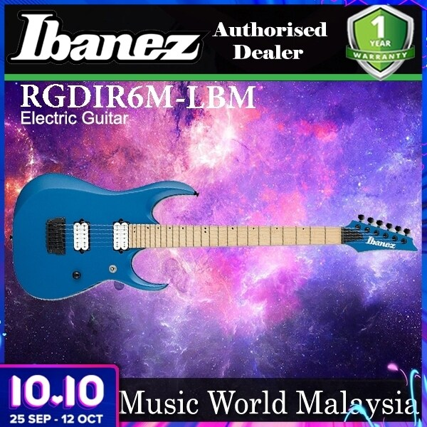 [Not Available] Ibanez RGDIR6M-LBM Mahogany Body Electric Guitar Laser Blue Matte (RGDIR6M LBM) Malaysia