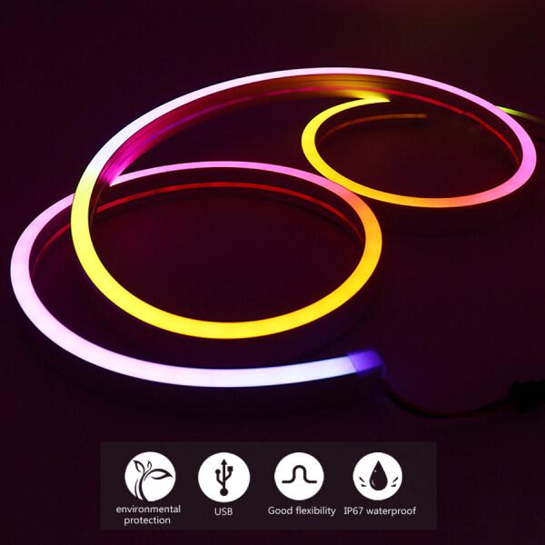 Bảng giá Dải Đèn LED Neon Dải Đèn Chống Nước Linh Hoạt IP67 Gel Silica WS2812B 5050 RGB DC5V 60 Leds Với Điều Khiển Từ Xa Điều Khiển Bluetooth Ứng Dụng Thông Minh, Hình Dạng Trang Trí Nhà Tự Làm Pixel (16X16Mm)