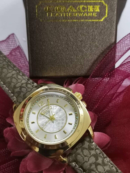 Coach women watch Quartz Gold Dial Leather Watch 14501287 Malaysia