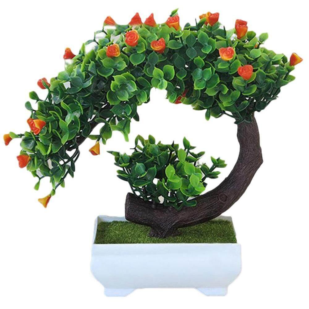 Bunga Buatan Simulasi Tanaman Pot Ringan Bulan Sabit Mawar Plastik Tanaman Palsu Dekorasi Rumah