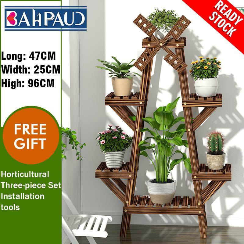 BAHPAUD Solid Wood Floor Stand Multi-layer Indoor Pot Rack