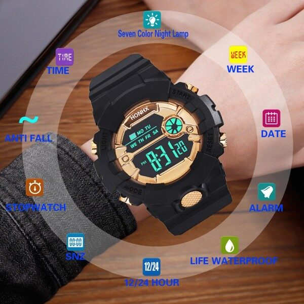 XHL HONHX Watch Waterproof Luminous Calendar Alarm Clock LED Electronic Women Men Watches Student Couple Wristwatch Malaysia