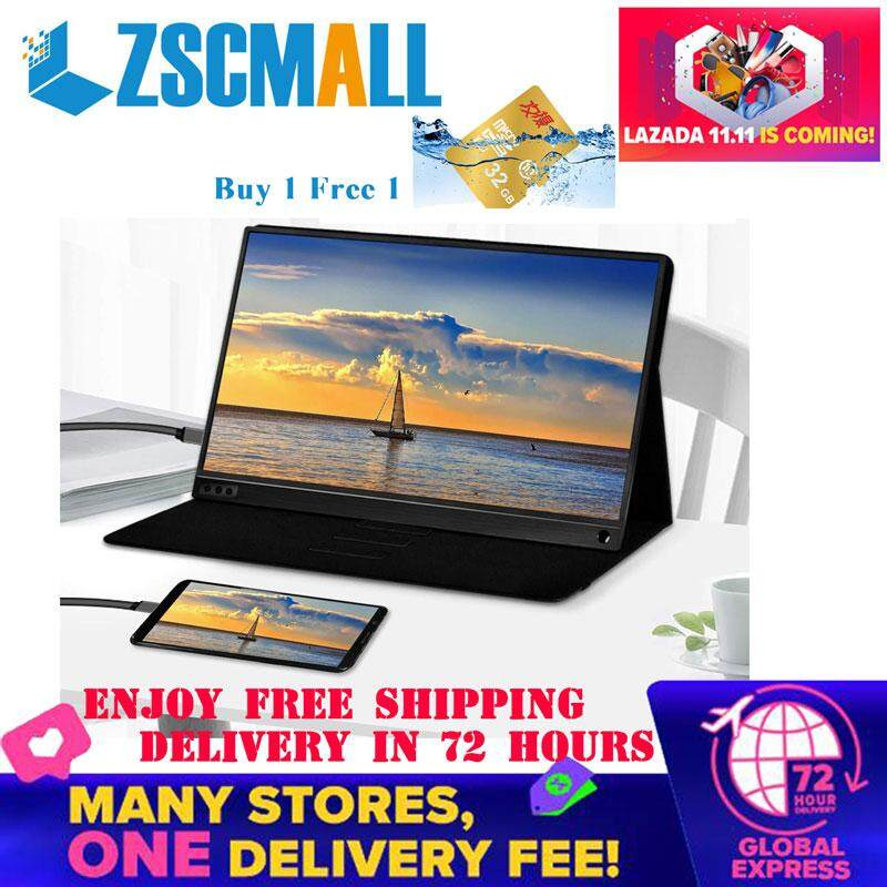 "ZSCMALL Portable Monitor 15.6"" USB Type-C Full HD 1080 IPS USB C Portable Monitor Built-in Dual Speakers Compatible with Laptop Computer Raspberry pi Gaming Monitor for PS4 PS3 Xbox Free Shipping(Send 32GB TF Card)) Malaysia"