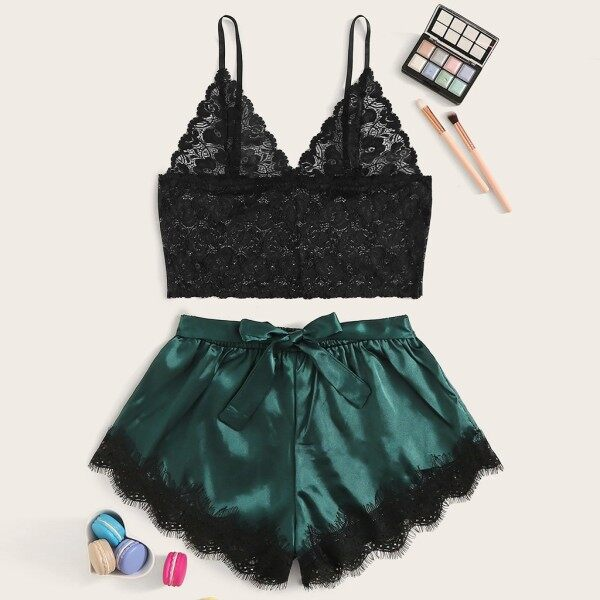 On sale Women Sexy Floral Lace Bralette Bowknot Satin Shorts Sleepwear Pajamas Sleepwear