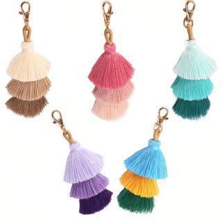 FANTASYO Thời trang Pom Bohemian Ba lớp dây chuyền túi Móc khóa Tua Phụ kiện túi xách thumbnail