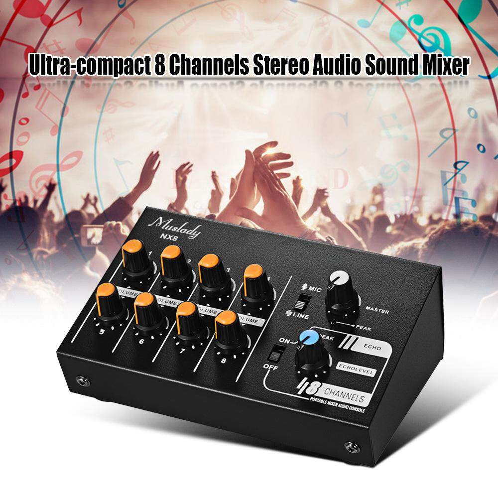 Muslady NX8 Ultra-compact 8 Channels Stereo Audio Sound Mixer Low Noise with Echo Function