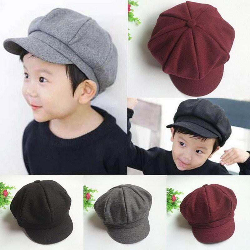73ba23ae3b9 Baby Hat Kids Boy Girl Soft Beret Cap Dome Octagonal Hat Baseball Casquette