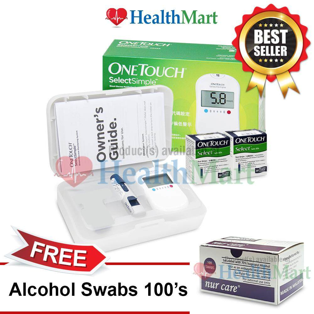One Touch Select Simple Blood Glucose Monitor With 20s Strips + FREE Alcohol Swabs 100s