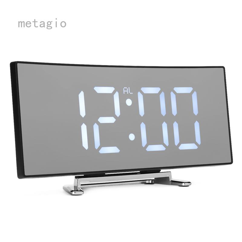 Metagio 1 Cái Đồng Hồ Báo Thức Kỹ Thuật Số LED Gương Hiển Thị Nhiệt Độ Bảng USB Cho Phòng Ngủ