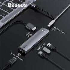 Bộ Chuyển Đổi Baseus, Bộ Chuyển Đa Cổng, Ethernet USB 3.0 C HUB Type C Thành HDMI RJ45, Bộ Chuyển Đổi USB3.0 PD Cho MacBook Pro Air Dock USB-C HUB HAB