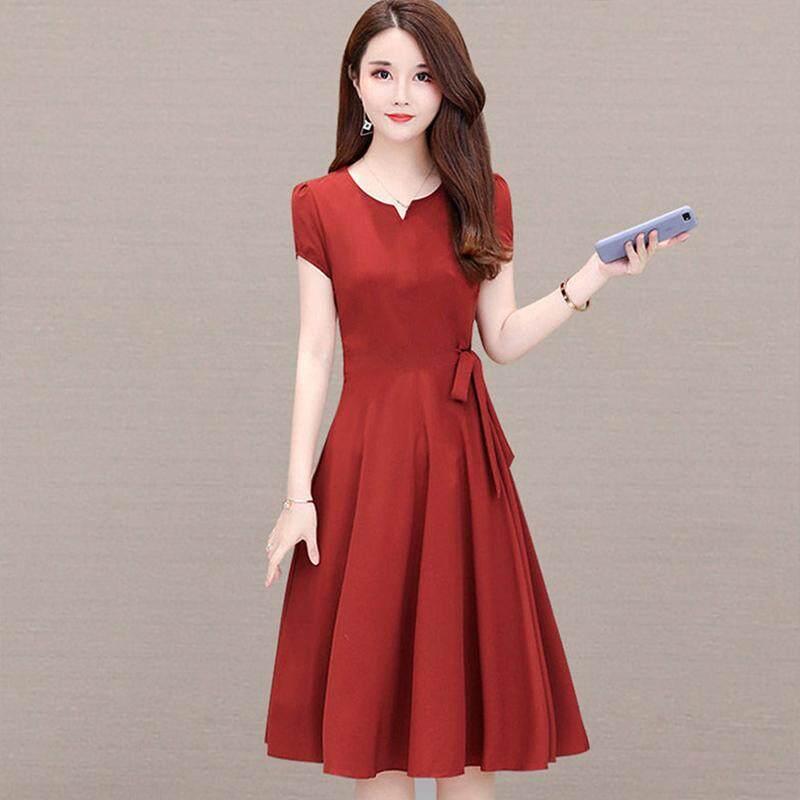 7a9ec020d1 RD Woman Summer Loose Pure Color Short Sleeves Mid-length Dress Female  Fashion Dress