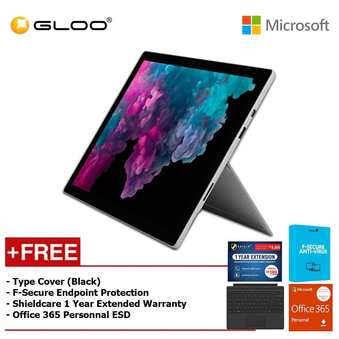 Microsoft Surface Pro 6 Core i5/8GB RAM -128GB + Type Cover Black + Office 365 Personal (ESD) + F-Secure Endpoint Protection + Shieldcare 1 Year Extended Warranty Malaysia
