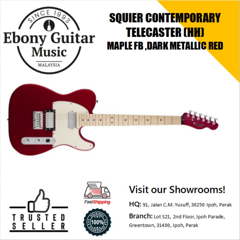 Squier Contemporary HH Telecaster Electric Guitar, Maple FB, Dark Metallic Red Malaysia
