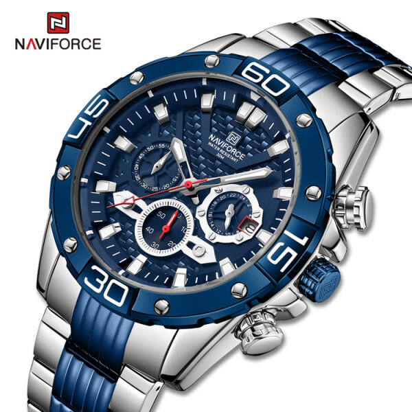 NAVIFORCE NF8019 Brand Top Luxury Mens Watches Fashion Sport LED Digital Chronograph Quartz Watches Men Full Steel Casual Waterproof Business Watch Malaysia