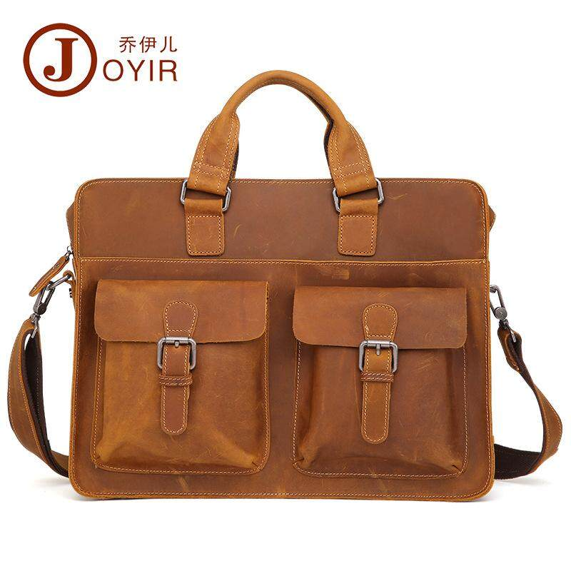 Vintage Leather Mens Briefcase Business Fashion Portable Briefcase Shoulder Messenger Bag Multi-Function Mens Bag By Promotionalgifts.