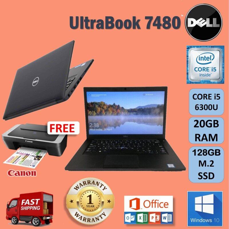 Dell Latitude 7480 CORE i5 6300U / 20GB DDR4 RAM / 128 GB M.2 SSD/ 14 inches FHD SCREEN / WINDOWS 10/ 1 YEAR WARRANTY BY DELL  / FREE CANON PRINTER / ULTRA SLIM / DELL LATITUDE E7480 / REFURBISHED Malaysia
