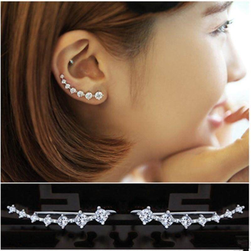 Women Jewelry Sterling Silver Modern Shooting Rhinestones Ear Pins Crawlers