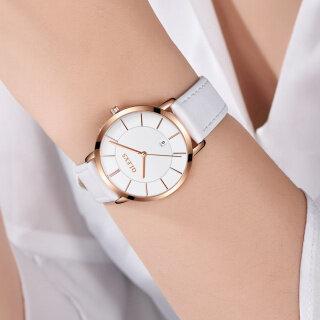 Đồng hồ thạch anh dây da dành cho nữ chi tiết mạ vàng thanh lịch Olevs gương kính Sapphire thumbnail