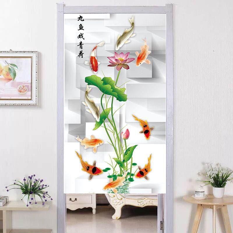 Chinese style  landscape Lotus  room decorative partition short  curtain fabric bedroom kitchen long Door curtain with rod