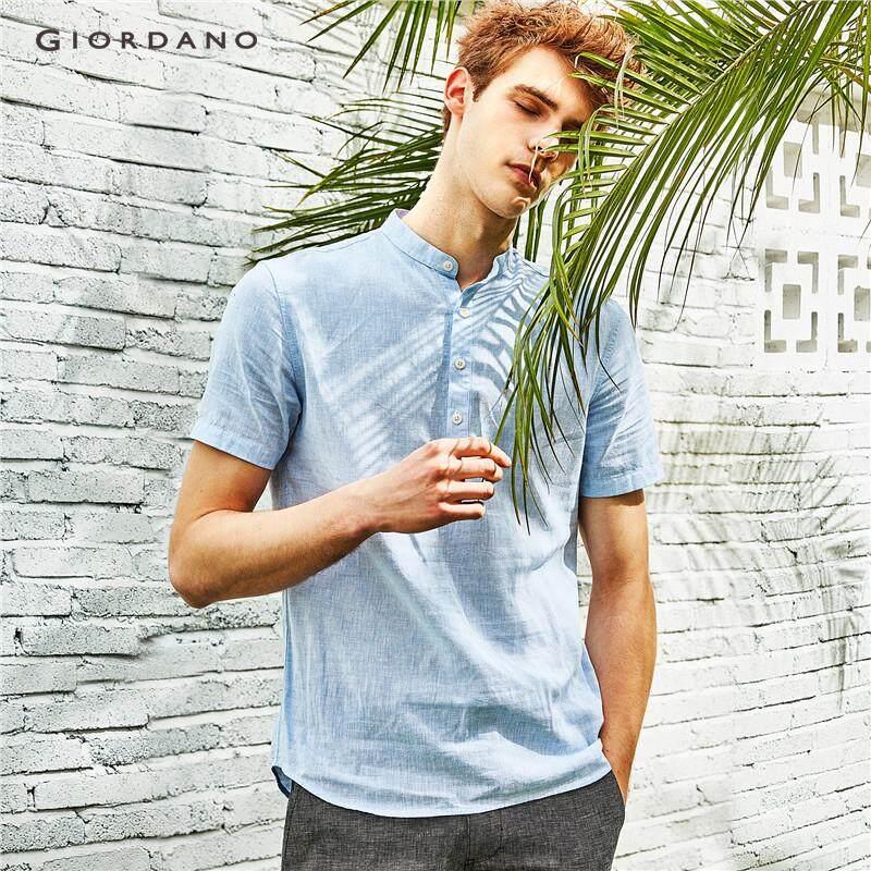 278adf97b Giordano Men Shirts Linen-Cotton Shirt Men s Brand Shirt Brief Slim Fit Thin  Short Sleeve