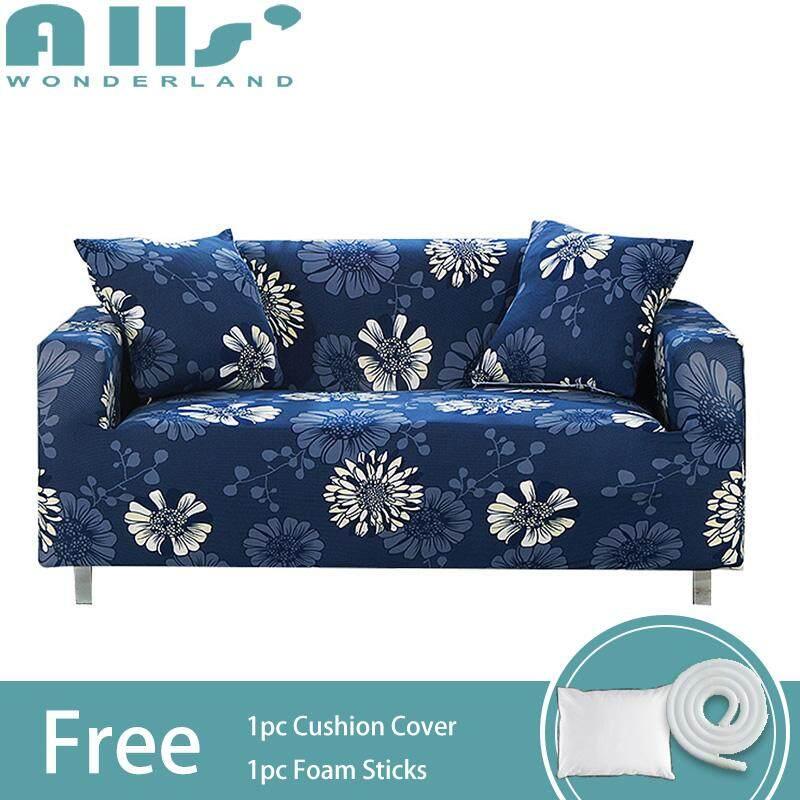 【Slipcover】(2 Seater )Flower Print Full Cover Stretch Sofa Cover 2 Seater Elastic Sofa Cover Spandex Protector Slipcover(Length Range for 145-185cm / 57.1-72.8)
