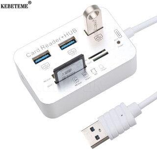 KEBETEME HUB USB 3 Cổng, Bộ Nhớ Đầu Đọc Thẻ HUB Kết Hợp USB 3.0 Bộ Chia USB Tốc Độ Cao Đa Trong 1 Với MS M2 TF Dành Cho Máy Tính PC Laptop thumbnail