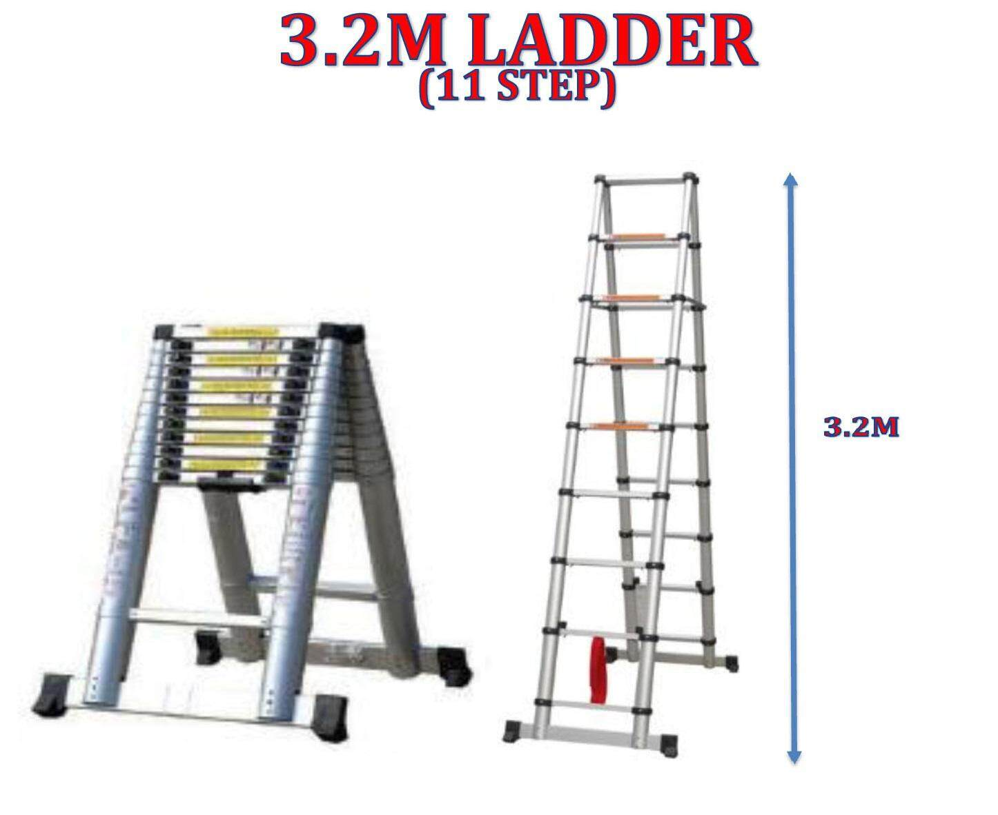 DS32 Double-Sided Telescopic Extendable Aluminium Ladder With Stabilize Bar 3.2M