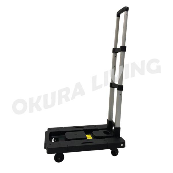 OKURA Multi-Functional Alluminium Folding Cart Adjustable Foldable Trolley Light Weight With Wheel Warehouse Hand Truck