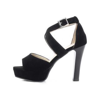 Womens High Heels Peep Toe Crisscross Strap Platform Heeled Sandals thumbnail