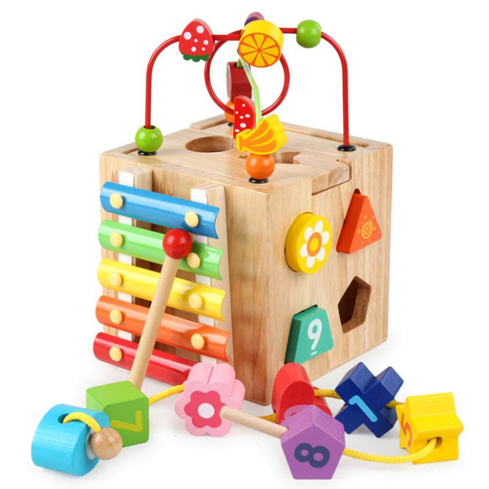 Comebuy88wooden Colorful Beads Knocking Piano Toys Multifunction Four Sides Educational Box By Comebuy88.